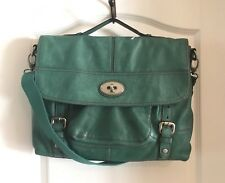 NWOT Be Fossil Long Live Vintage Green Leather Messenger Flap Turnlock Crossbody