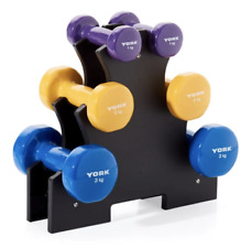 York Vinyl Dumbbell 12kg Set with Stand (2x1kg, 2x2kg, 2x3kg) - Arm Gym Fitness