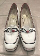 Vintage Joseph White Leather red & blue chunky heel shoes size 6.5 made in Spain