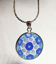Silver Plated Murano Millefiori Necklace Pendant Glass 18 inch Flowers Stars USA