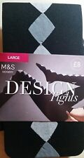 MARKS & SPENCER BLACK WITH GREY DIAMOND DESIGN LARGE TIGHTS BNWT