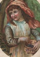 LITTLE GIRL PICKING BLACKBERRIES Watercolour Painting OUIDA PEARSE 1902