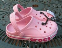 Crocs Kids Crocband Band Gallery Clog Sandals Girls Boys UK J2 Pink & White BNWT