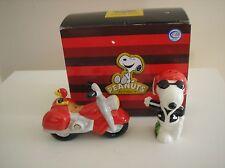 Peanuts Snoopy Joe Cool Motorcycle Magnetic Salt & Pepper Shakers MIB.