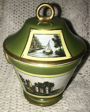 ANTIQUE STUNNING GREEN GOLD VASE JAR 2 RING HANDLE PAINTED CASTLE SCENES ITALY