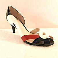 "CALVIN KLEIN Womens 7.5 M Nila 3"" Heels Patent Peep Toe Black Red White E3177"