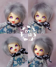 "5-6"" 14cm BJD fabric fur wig Grey short hair for AE PukiFee lati 1/8 Doll"