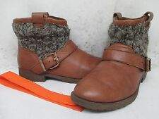 Aldo Brown Leather Buckle Ankle Boots Size 8