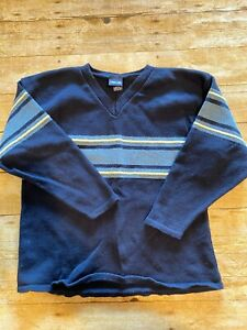 Cherokee Boys L Cotton Blend V Neck Navy With Light Blue Yellow Contrast