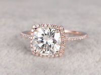 Solid 10K Rose Gold 2.2 CTW Cushion Cut Diamond Halo Engagement Ring For Womens