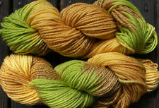 Pure wool yarn, bulky weight, yellow, green and wheat, superwash