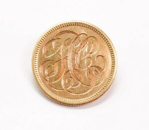 Antique 1903 Engraved Love Token $2.50 Gold Liberty Head Coin Brooch Pin