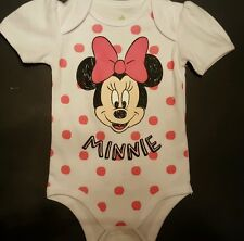 BABY GIRLS DISNEY MINNIE MOUSE WITH PINK DOTS 1PC CREEPER/BODYSUIT SIZE 6/9 NWOT