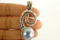 Contemporary Black Mabe Pearl Solitaire 925 Sterling Silver Pendant