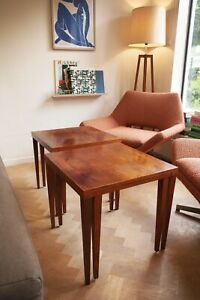 DANISH TABLE NEST ROSEWOOD BEDSIDE TABLES SIDE END RETRO MID CENTURY 60s