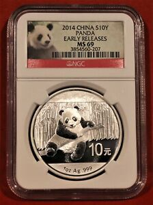 2014 ** SILVER CHINA PANDA ** NGC MS69 ** EARLY RELEASES **