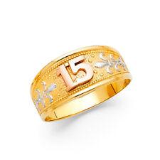 Women 14k Yellow 3 Tone Gold Sweet Anos 15 Milgrain Girl Right Promise Ring Band