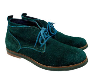 Cole Haan Green Suede Ankle Boots 8.5 M Blue Laces Lace Up