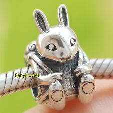 925 Sterling Silver Easter Rabbit Bunny Basket Mushroom Charm Bead Fit Bracelet
