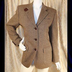 RALPH LAUREN  Brown Country Heritage Woman Blazer Coat Jacket with Elbo Patch