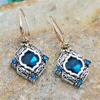925 Silver Sapphire Earrings 18K Gold Filled Ear Hook Dangle Drop Women Jewelry