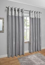 Crushed Velvet Band Faux Silk Eyelet Curtains - Fully Lined