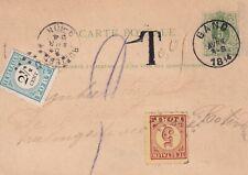 Briefkaart uit Gand naar Rotterdam (punt en kleinrond) port 5c 1e emm en 2 1/2 c