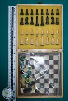 VINTAGE MAGNETIC DRAUGHTS AND CHESS TRAVEL SET-AJEDREZ Y DAMAS MAGNETICO