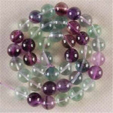"New 10mm Multicolor Fluorite Round Gemstone Loose Beads 15"""