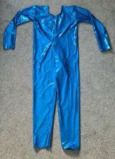 "Blue Wetlook Shiny Lycra Long Sleeved Catsuit Dance Unitard Spandex XL UK 16 40"""