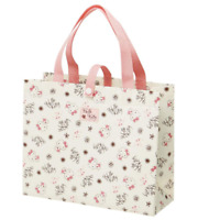 JAPAN SANRIO Hello Kitty Cat Flower Pink Beige Leisure Bag Non-woven Tote Medium