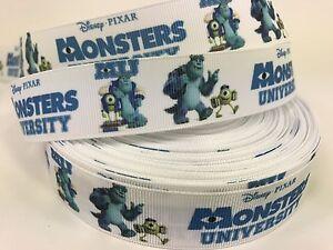 """Sale! 5 Yards Printed 1"""" Disney MONSTERS UNIVERSITY Movie Grosgrain Ribbon  Lisa"""