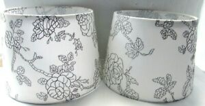 2 LAMP SHADES WHITE WITH EMBROIDERED STITCHED LEAF & FLOWER DESIGN IN GRAY