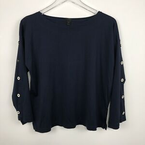 J.Crew Women's Small Navy Blue Top 3/4 Sleeve With Buttons Round Neck Cotton