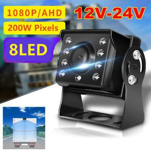 12-24V HD 8 LED Truck Bus Trailer RV Blind Spot Rear View Reverse AV Camera Kit