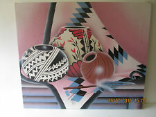 original canvas art painting Native American Pottery on blanket signed J Kendall