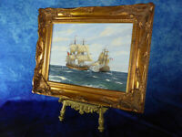 English School NAVAL BATTLE AT SEA Oil Painting on Board Nautical Frigates Ships