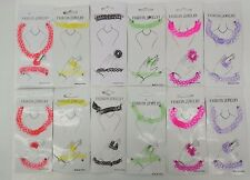 12 Sets of Tattoo Choker Necklace Bracelet Ring Set Elastic Stretchy