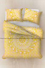 Indian mandala cotton yellow duvet doona mover comforter quilt cover bedding set
