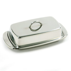 Norpro Stainless Steel Covered Butter Dish, 6 x 3 ½ Inches