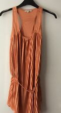 RIVER ISLAND SIZE 8 UK DEEP ORANGE PLEATED TOP. POLYESTER. GREAT CONDITION.