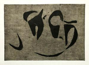 GERMAN MODERNIST Linocut ~ EARLY ABSTRACT ~ 1947 Gerhard Fietz MUSEUM QUALITY