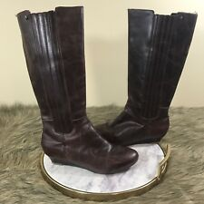 Reef Boots Sz 8 M Brown Leather Pull On Mid Calf Knee High Low Wedge Heel Boots