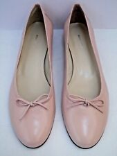 NEW BURBERRY light pink leather ballet flats shoes tie bow detail size 39