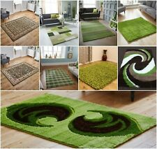 GREEN vintage high QUALITY COSY SHAGGY SWIRL LIVING ROOM LOW COST Carpet Rugs