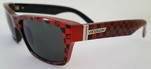 VON ZIPPER FULTON Sunglasses BLACK AND RED CHECKERED with grey lenses