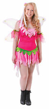 Ladies Flower Fairy Tinkerbell Fancy Dress Costume Wings Pink Outfit Brand New