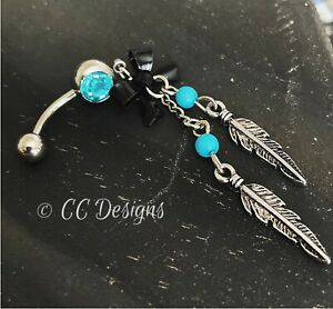 14g Dangle Blue Bead Black Bow Leaf Feather Boho Belly Button Ring (#48)