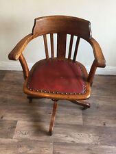 Vintage Antique Edwardian Oak Office Captains Swivel Chair circa 1910