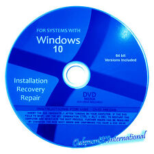 Windows 10 Home Pro 64 bit Reinstall Upgrade Install Repair Restore DVD x64 wHDD